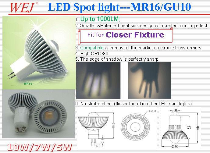 High Brightness Indoor Lighting Led Spot Light 5W 7W 10W GU10 Light Bulb
