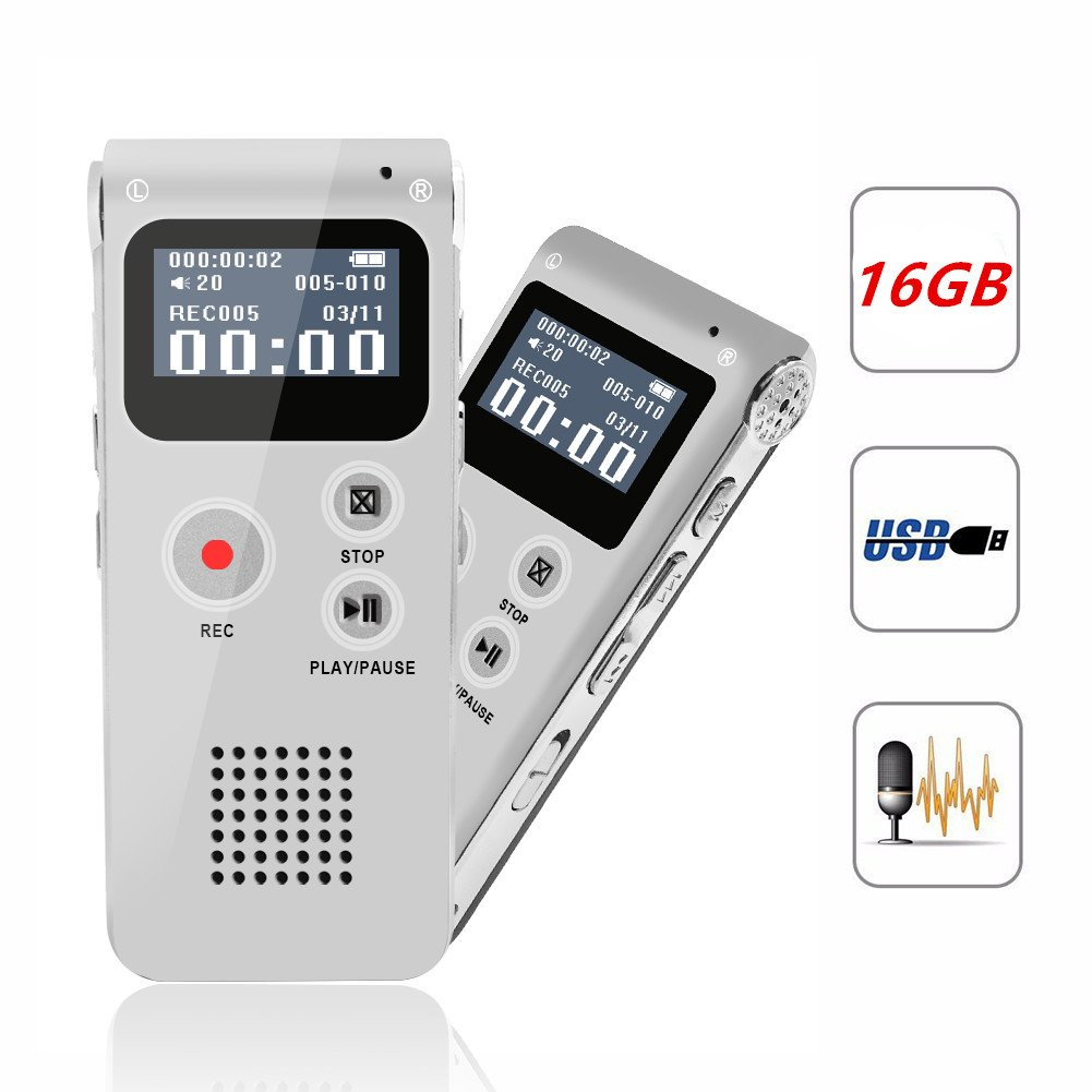 Digital Voice Recorder, Portable Recorder, Multifunctional Rechargeable Dictaphone, FlatLED Audio Voice Recorder Dictaphone, MP3 Music Player with Mini USB Port and Color LCD display, 16GB (Silver)