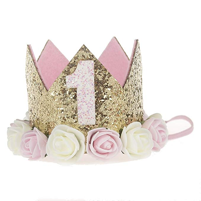 First Birthday Decorations For Girl 1st Baby Number Rose Gold Foil Balloon,Happy Birthday Banner Tassel