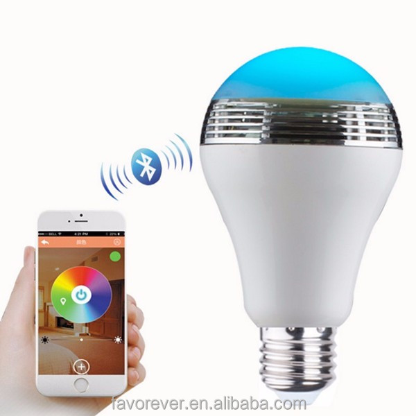 Wireless smar light bulb bluetooth <strong>speaker</strong> with color changing LED light, CE,RoHs, FCC certificate