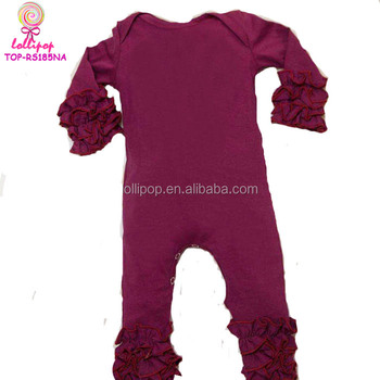 c7f52a4e1 Girls boutique cotton rompers infant wine onesie full-length crotch snap  baby boy icing ruffle