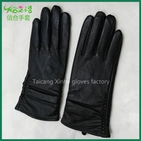 Lady leather thickening warm leather driving gloves lady fashion gloves