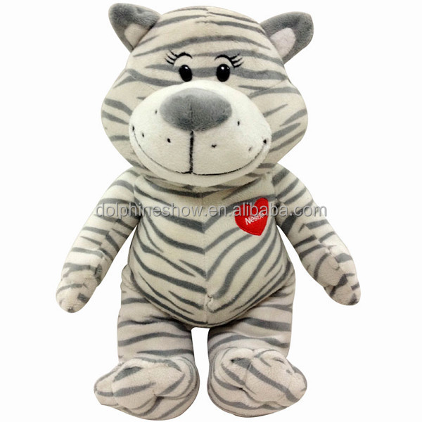 Big Brand Cartoon White Tiger Soft Toy With Red Heart Promorion Gift Custom Stuffed Tiger Plush Toy