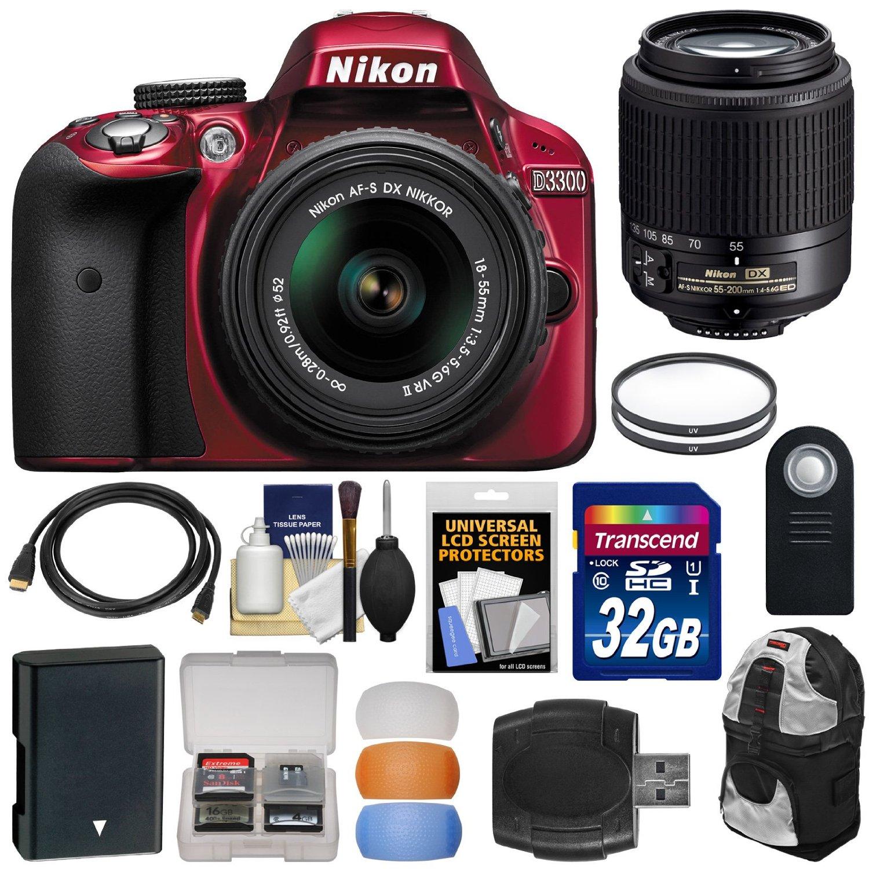 Buy Nikon D3300 Digital Slr Camera Amp 18 55mm G Vr Dx Ii Af S Kit Red With 55 200mm Lens 32gb Card Battery Backpack Filters