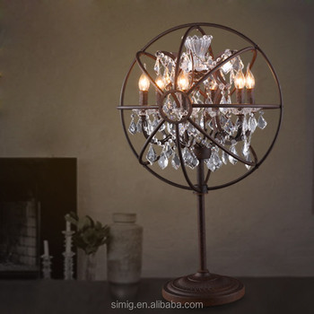 Clear Color Crystal Chandelier And Iron Hoop Table Lamp For Wedding