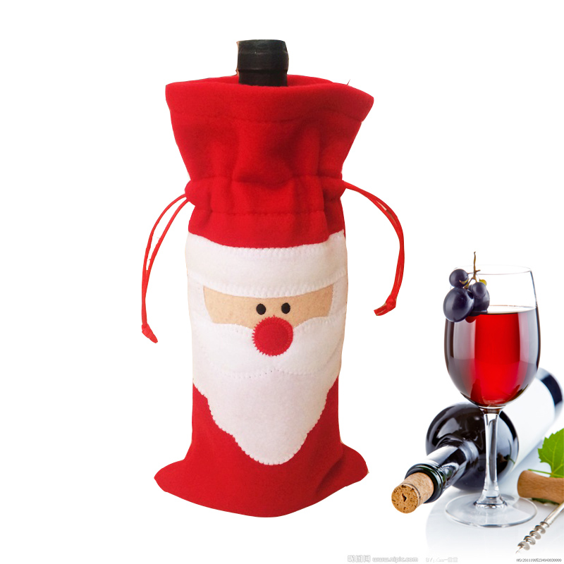 2015 new Christmas decorations Santa Claus wine bottle cover bags Champagne bottle's covers Free shipping