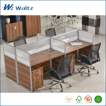 Ergonomic Rectangular Office Table For 4 People Workstations
