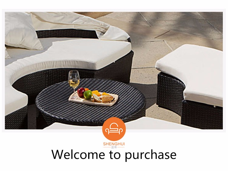 Lounge Sofa with Canopy Rattan Patio Round Bed Set Home Garden Fruniture