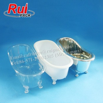 White Pp Plastic Mini Bathtub Shaped Product Container