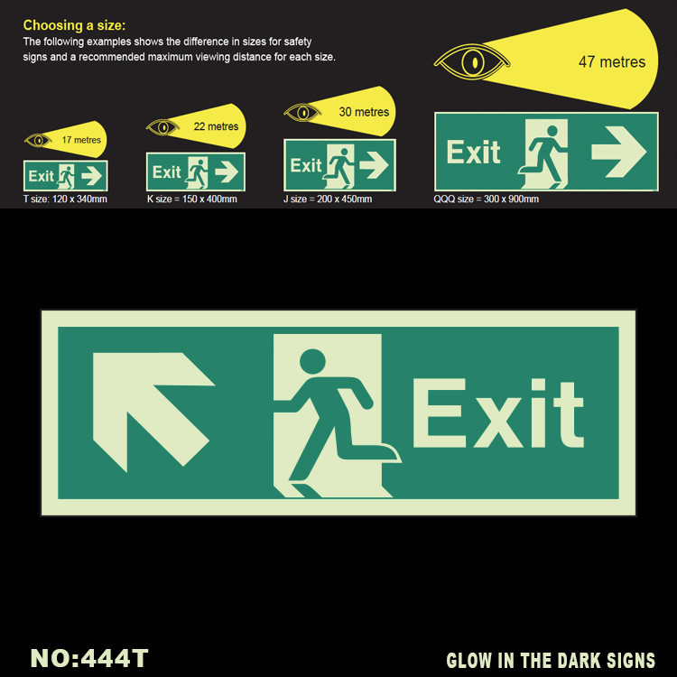 Hot selling Glow In the dark Custom Exit Signs Photoluminescent safety signs dirrection arrow up left