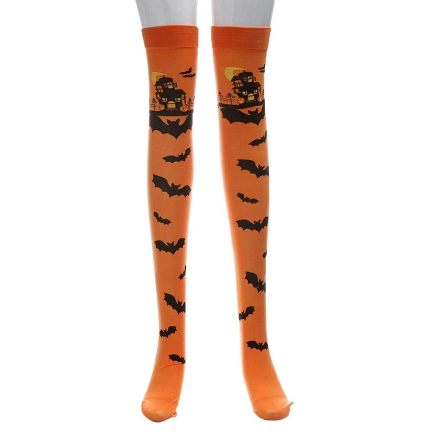 cfd269ca63f Get Quotations · JPOQW-winter Halloween Socks Stockings Print Long Tube Knee  Socks Fancy Party Funny Dress up