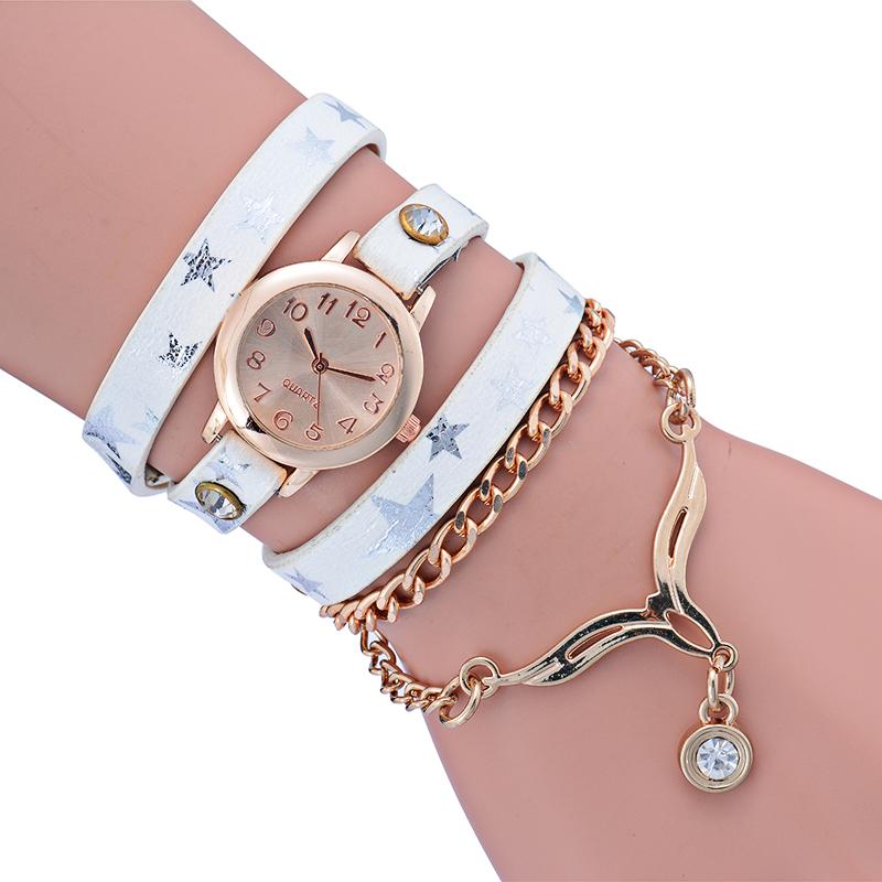 4aaafb13a9f Relógio da forma Da Senhora relógio de Pulso Relógios das Mulheres Modernas  Multicamadas Pulseira Mulher Relógio