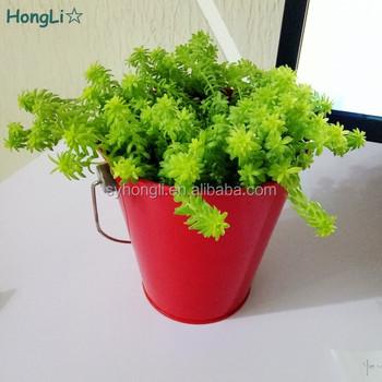 hot sale garden decorative tall plant pots metal tin vegetable planters red flower pots