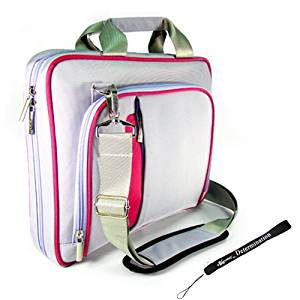 Kroo Purple and Pink Pin Carrying Case Optional Shoulder Strap For Coby TFDVD7750 Dual Screen Portable DVD Player Now with More Space, More Durable, Looks CooL + Includes a 4-inch Determination Hand Strap