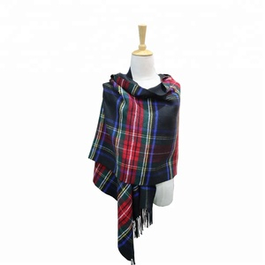 fashion design cashmere feel soft 100% acrylic checked shawls hijab