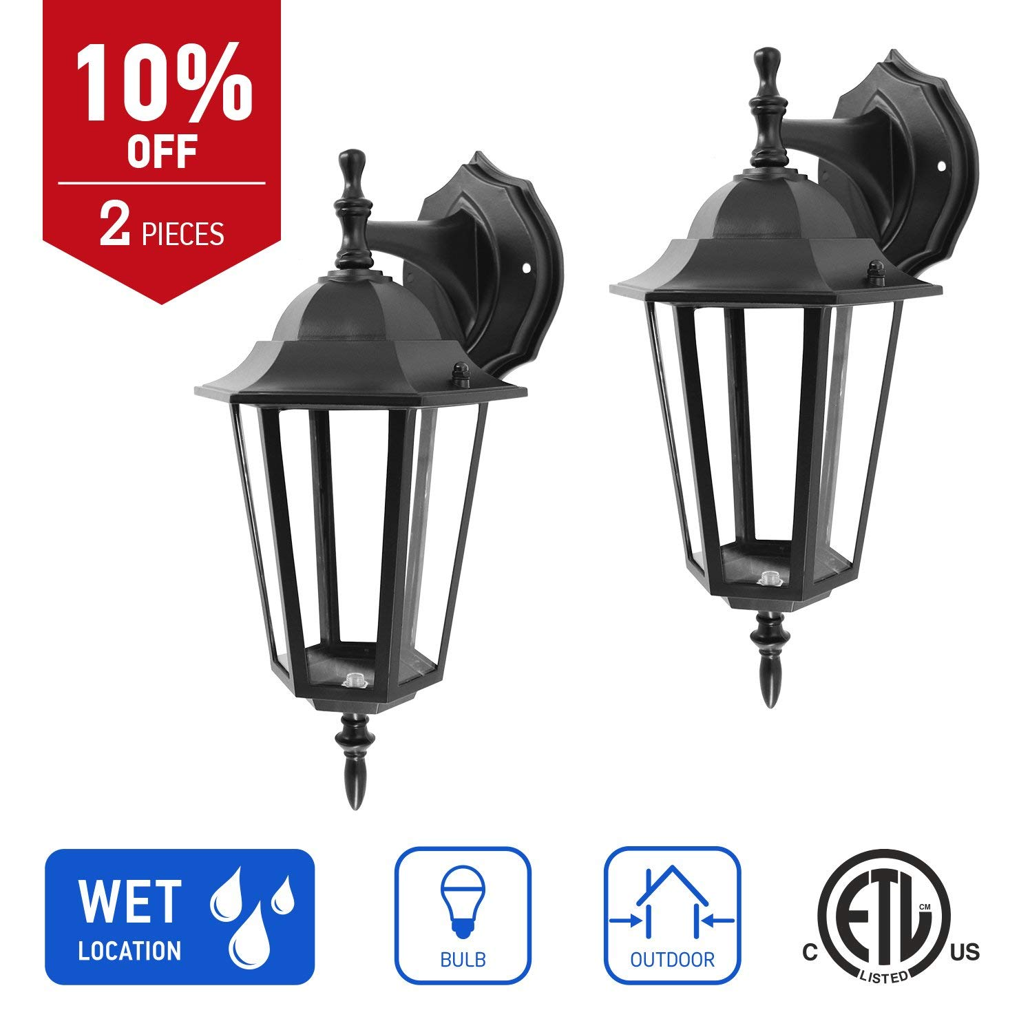 IN HOME 1-Light Outdoor Exterior Wall Down Lantern, Traditional Porch Patio Lighting Fixture L01 with One E26 Base, Water-Proof, Black Cast Aluminum Housing, Clear Glass Panels, (2 Pack) ETL Listed
