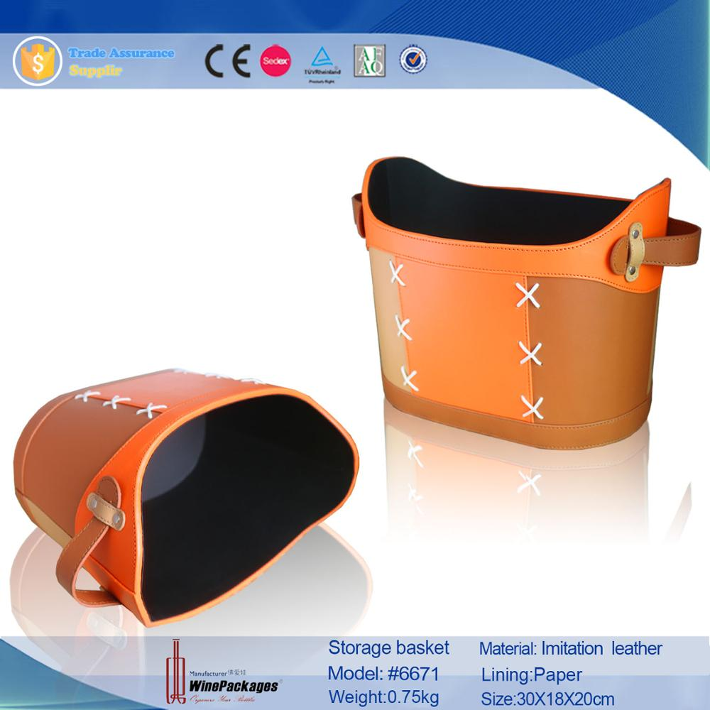 Luxury hand made PU leather storage basket for fruit/Vegetables/food