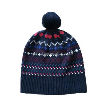 Jacquard Knitting Pattern Winter Cotton Fabric Pom Pom Hat Custom