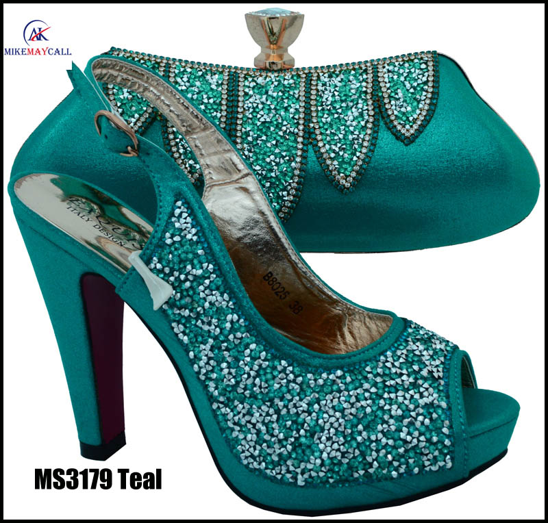 MS3179 Teal hot selling 11.5cm high <strong>heels</strong>/crystal lady wedding party Shoes with matching bag