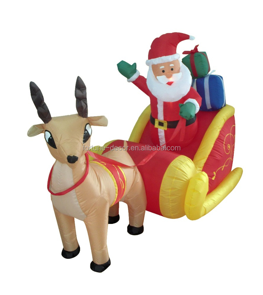 180cm Inflatable Reindeer Pull Sled Which Sit On For Christmas Decoration