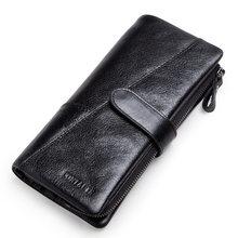 CONTACT'S Стильная сумка винтажного стиля из натуральной кожи с отделением для карт бумажники для мужчин карман на молнии для монет 2019(Китай)