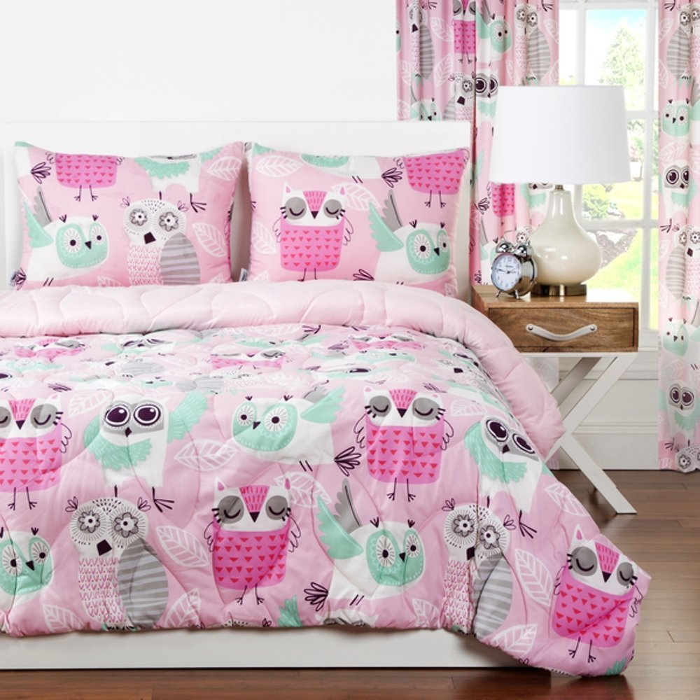 2 Piece Girls Hot Pink Grey Owl Theme Comforter Twin Set, Cute All Over Friendly Owls Bedding, Fun Bird Themed, Multi Flying Animal Heart Flower Leaf Pattern, Light Gray Seafoam Green Mint Teal Blue