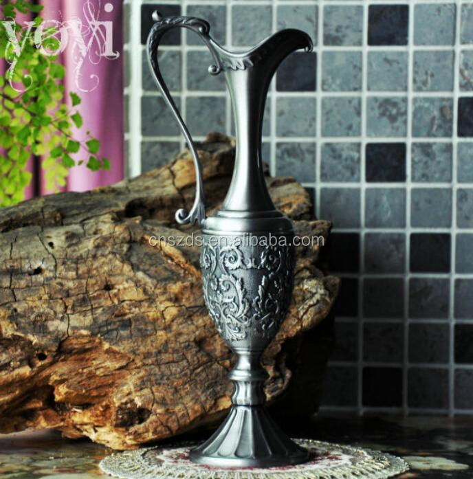 Home Decoration metal alloy Tabletop vase vintage flower Carved Pewter Artcraft Gift flower vase
