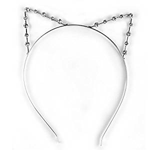 Smile Fashion Cute Sweet Girl Women's Accessory Cosplay Punk Party Crystal Rhinestone Cat Ear Hair Band Headband HB170