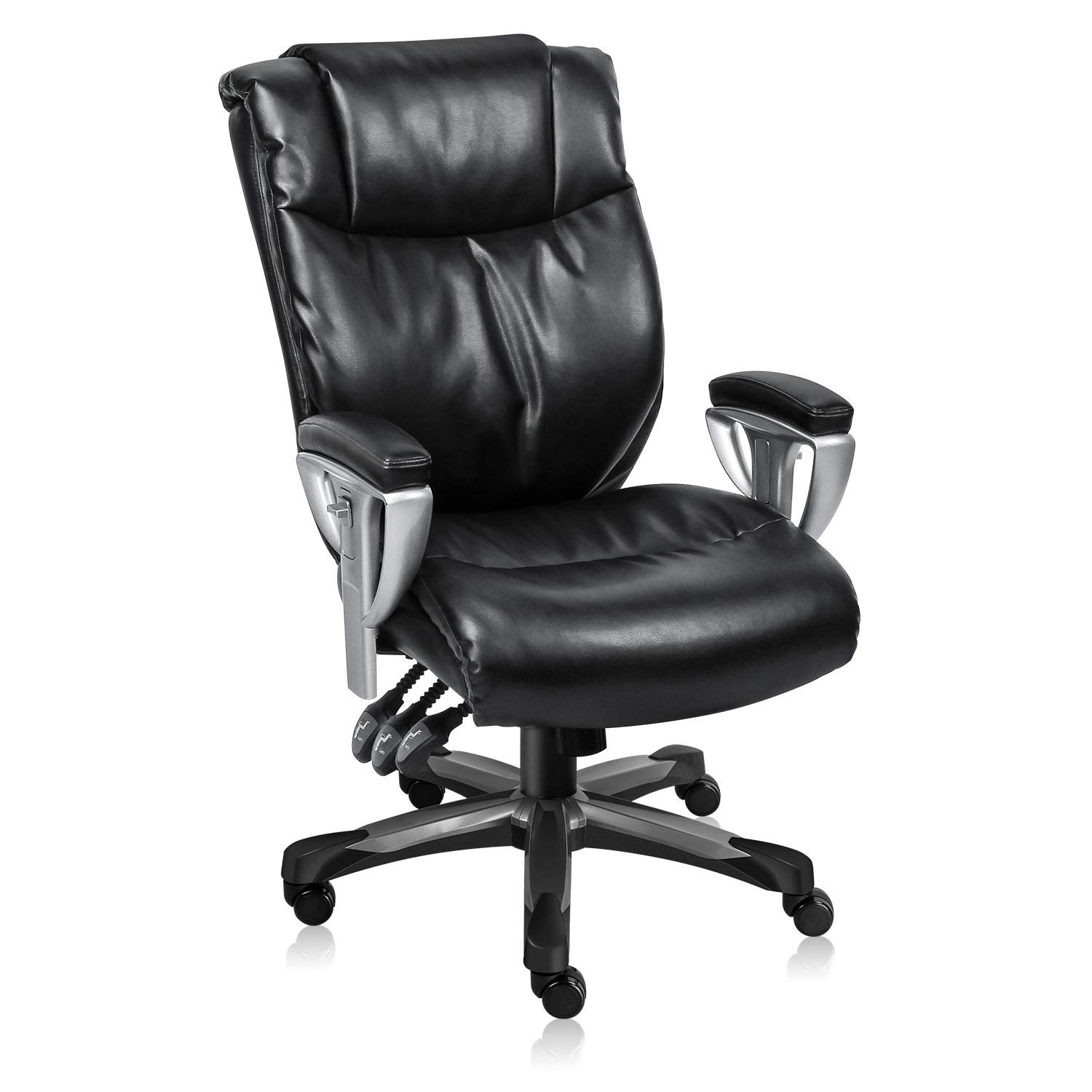 MDL Furniture Executive Office Chair Ergonomic Office Chair with Adjustable Backrest and Armrests Multifunction Heavy Duty 300lbs Office Chair with Tilt Lock Function(Black)