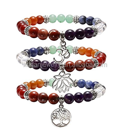 7 Chakras Yoga Meditation Healing Balancing Round Stone Beads Stretch Bracelet with Tree of Life/Lotus/OM Symbol Charm
