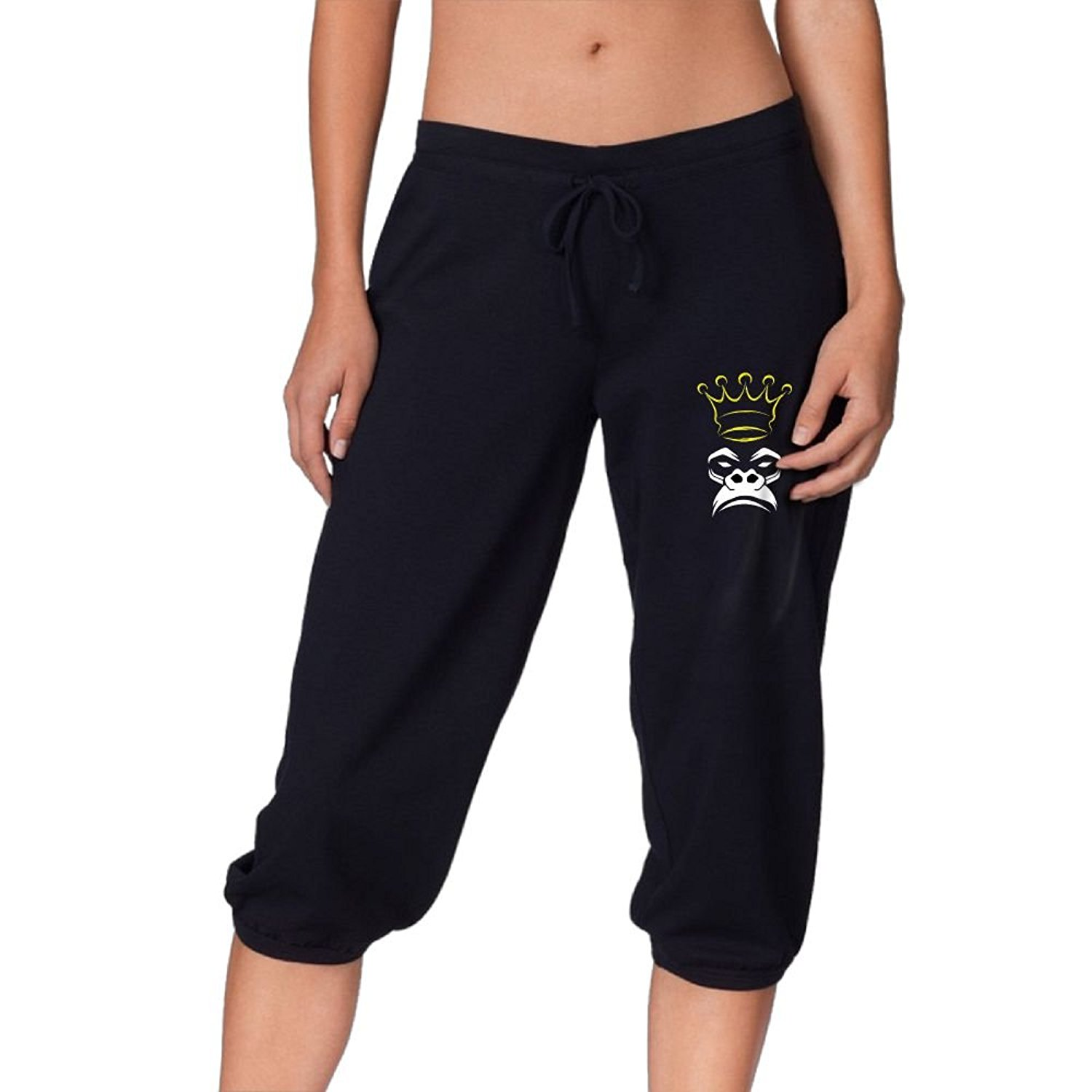 494e6005fddfc Get Quotations · FeiTian Monkey Loose Banded Capri Cargo Pants Print Yoga  Workout Girl French Terry Knee Capri Pants