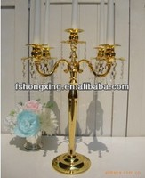 3 arms golden Flash electric plating Candle Holder for wedding or party decoration