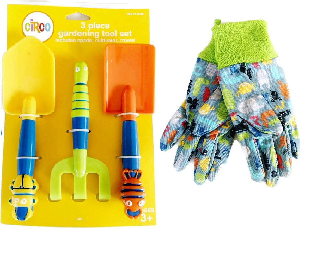 Kids 4 Piece Bug Gardening Bundle - 4 Items - Garden Gloves, and 3 Piece Gardening Tool Set (spade, cultivator, trowel)