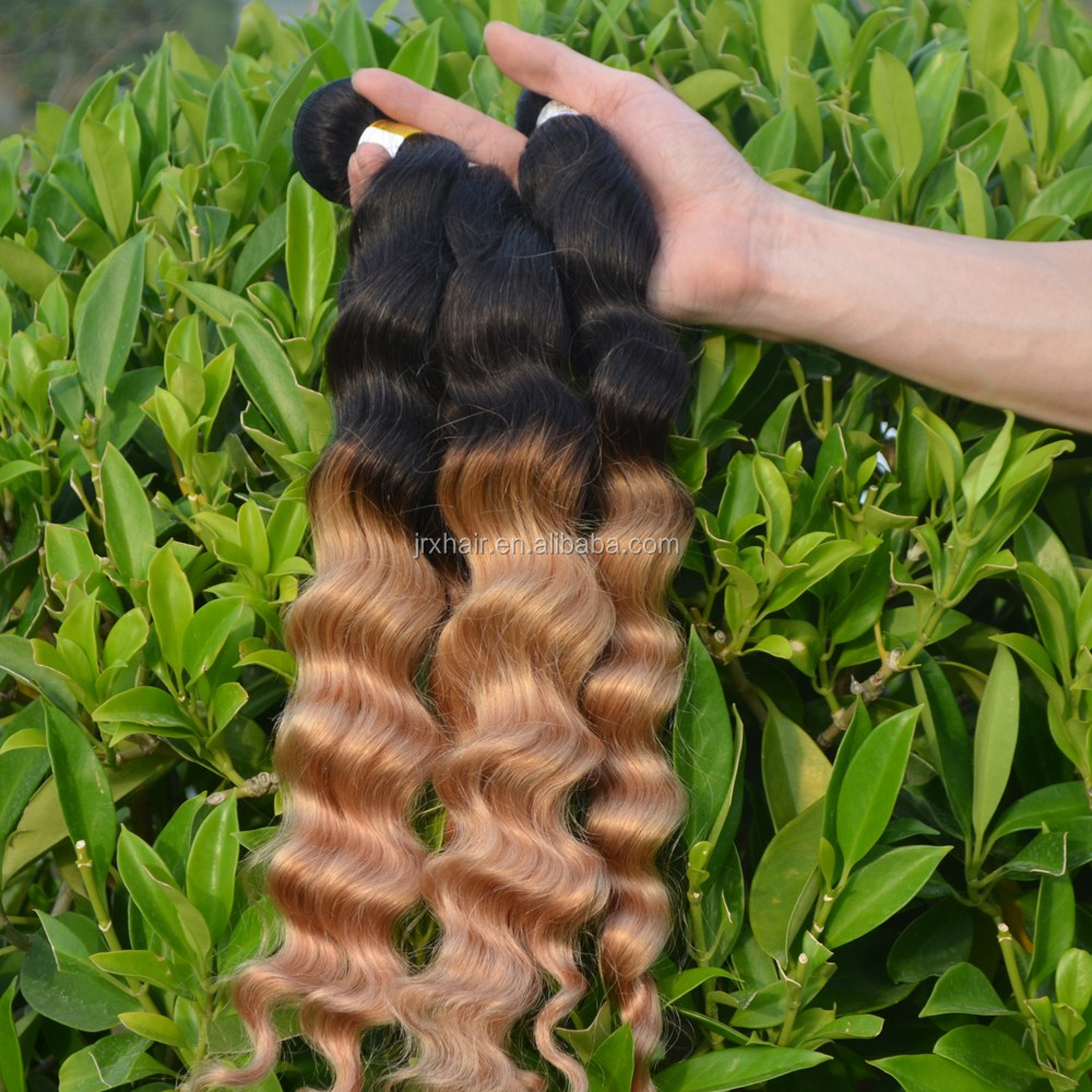 Keratin Extensions Colored Two Tone Ombre Weave Natural Color Hair