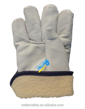 Wing Thumb White Warm Lining Cow Skin winter leather gloves direct buy china