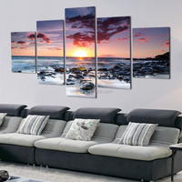 5 Panel seascape canvas print wall art for home decoration