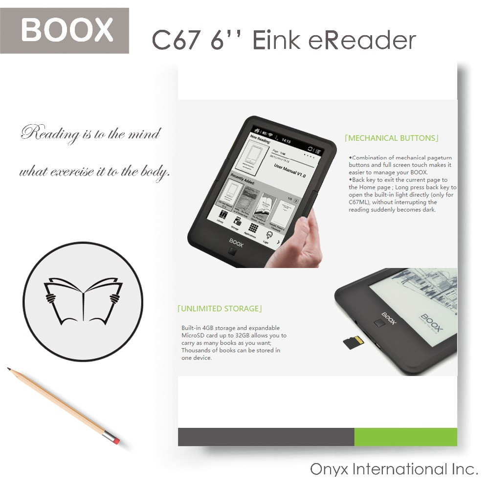 6 inch ebook reader BOOX C67ML Carta2 plus 300 ppi, C67ML Carta + 212 ppi, C67 S/ HD 167 ppi are optional