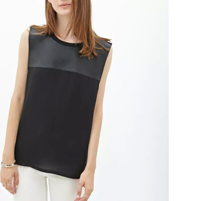 83d1df85ee6b87 Get Quotations · Brand Quality Women Chiffon Blouses 2015 Summer Sleeveless  O-Neck Blouses PU Stitching Blouses Office