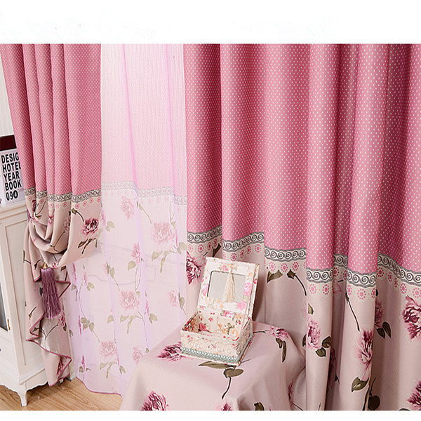 Korea style sweet feeling warm drapery fabric manual blinds