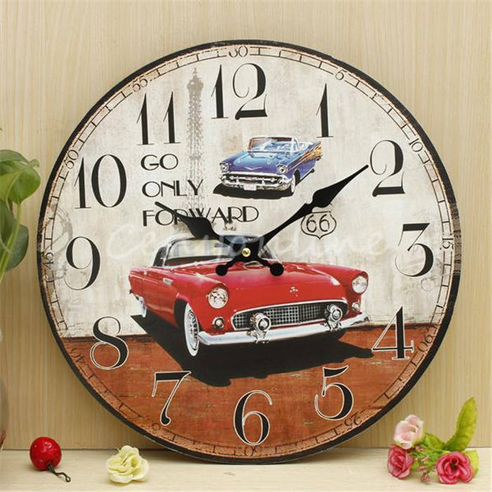 Modern Design Car Large Zakka Retro Vintage Rustic Shabby Chic Home Office Cafe Bar Study Decoration Art Wall Clock