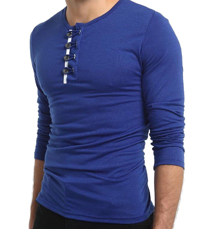 Winwinus Men Loose Lapel Long-Sleeve Printing Plus Size Button Top Shirt