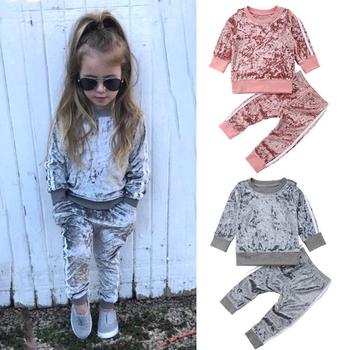 4color Autumn Winter Velvet Kids Baby Girls Clothes Sets Solid Long Sleeve T-shirt Tops + Pants 2PCS Outfit Sets Pink