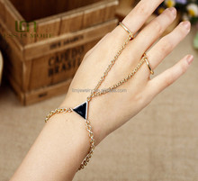 Hand Bracelet Bangle gold Chain Link Finger Ring Bracelet