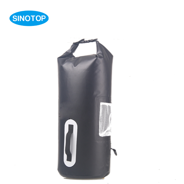30L wholesale camping hiking 500D PVC tarpaulin fashion waterproof dry bag with strap handle and net bag