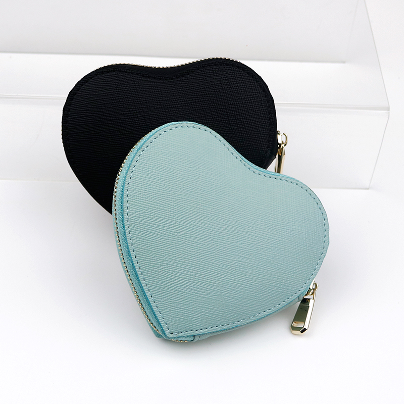 heart shaped saffiano leather coin pocket with keychain