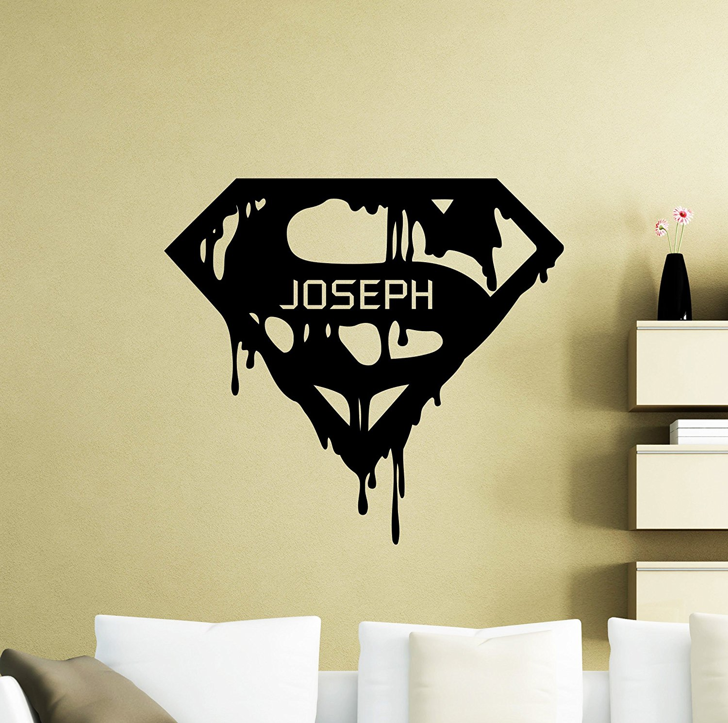 Get quotations · personalized superman wall decal custom name superhero vinyl sticker superman logo home personal nursery room interior