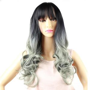 Ombre Colour Synthetic Wigs for Women Long Natural Wavy Full Synthetic Hair Wig Most With Bangs Machine Made Wig For Fashion