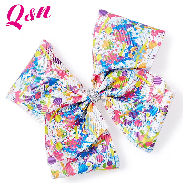 kids hair accessories multi-colors heat transfer print rhinestone boutique hair jojo bows for your hair