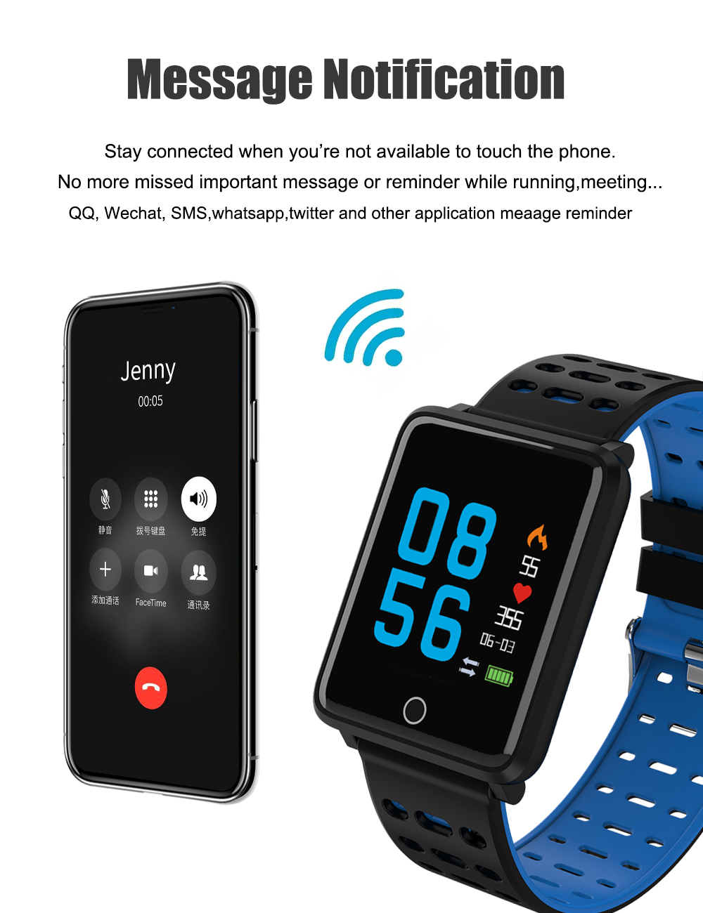 DFA8 SMS notification Clock alarm anti lost Gesture control OTA udpate Compatible with IOS & Android mobile health tracker