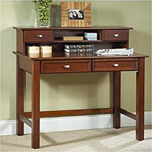 Bowery Hill Wood Student Writing Desk with Hutch in Cherry